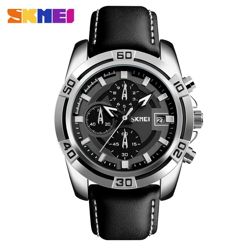 все цены на Skmei Men's Fashion Sports Military Watches Chronograph Leather Mens Quartz Wristwatches Waterproof Relogio Masculino 9156