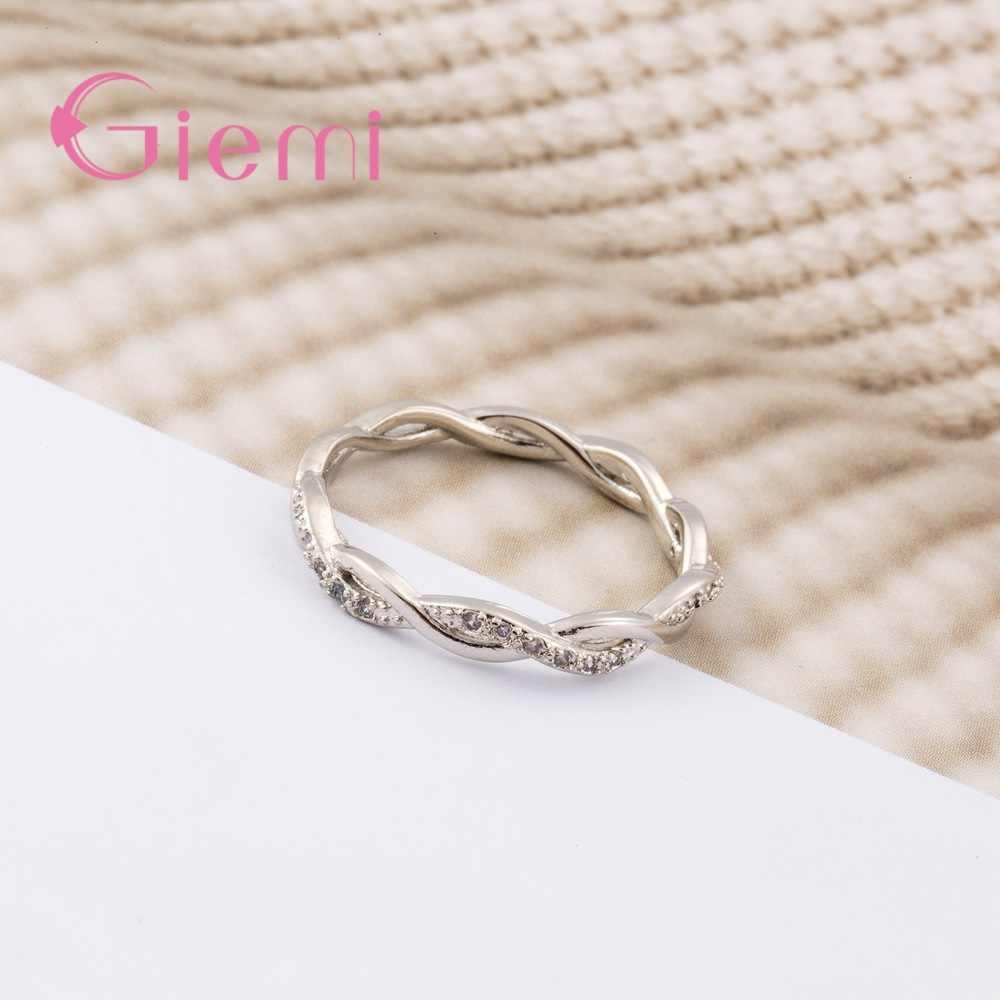 Baik Solid Murni 925 Sterling Silver Cincin untuk Wanita Pria AAA Cubic Zircon Cross Twisted Stackable Pernikahan Pertunangan Perhiasan