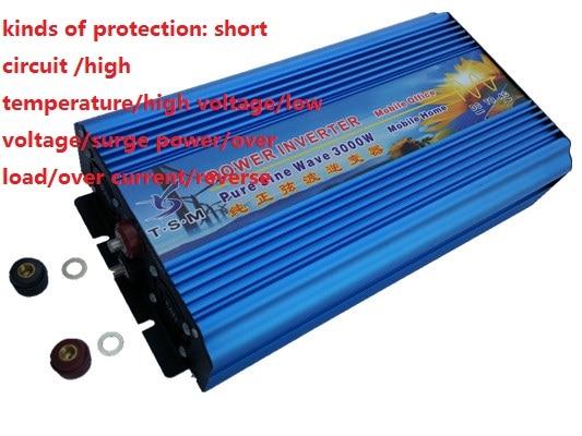 dual digital display 6000W Peak power 3000W Pure Sine Wave Inverter DC12V/24V to AC110V/220V 50HZ/60HZ free shipping