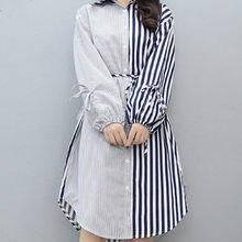 2019 Outono Inverno Mulheres Misturas de Vestido de Camisa Lady Bow stripe Bodycon Vestidos de Festa Plus Size