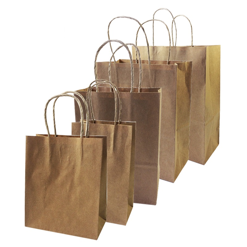 Image 2 - 10 Pcs/lot Big Kraft Paper Bag With Handles Recyclable Bag for Fashionable Clothes Shoes Gift Shops 8 Size Cowhide Color-in Gift Bags & Wrapping Supplies from Home & Garden