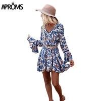 Aproms Elegant Flare Sleeve Loose Mini Dress Boho Deep V Neck Blue Floral Print Casual Summer