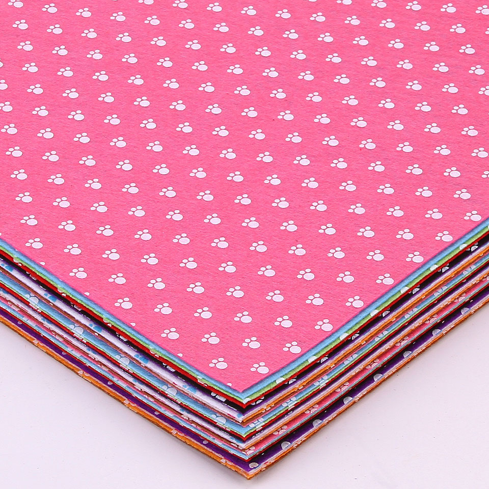 Feet Printed Felt Fabric 30x30cm Non Woven Handmade Sewing Home Decor Material Thickness 1mm Mix