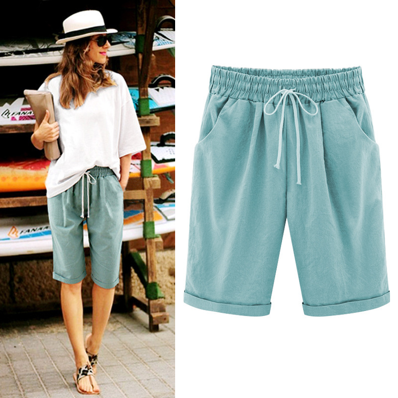 5XL Summer Casual Pants Women's Knee Length Capris Trousers Thin Medium Trousers Large Plus Size Loose Trousers Woman Pants 6XL