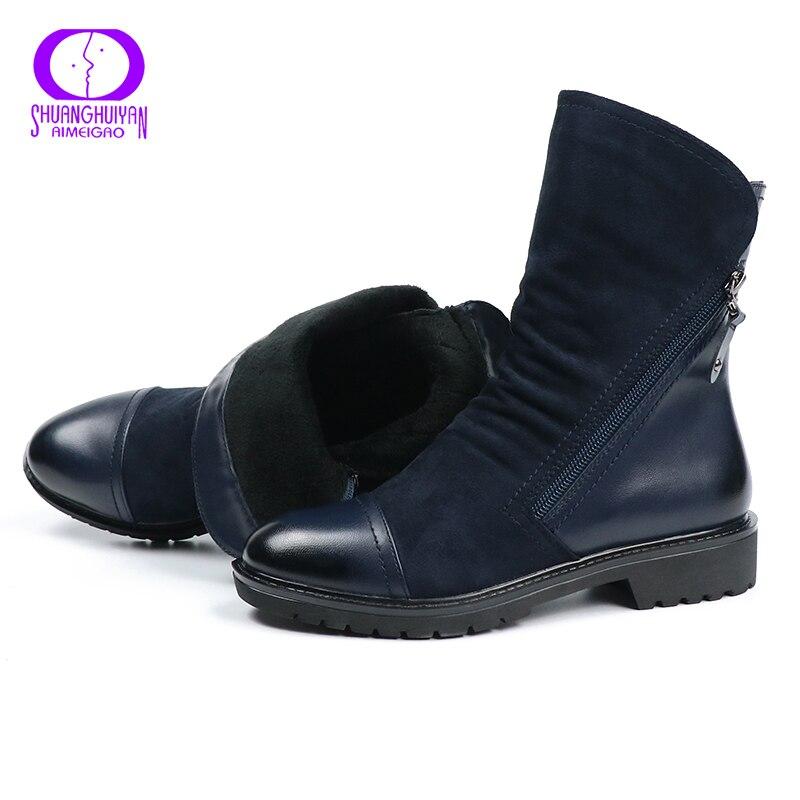 292c3b34 AIMEIGAO moda kozaki zamszowe dla kobiet Faux Suede płaskie buty do połowy  łydki wiosna damskie jesienne botki czarne niebieskie buty w AIMEIGAO moda  kozaki ...