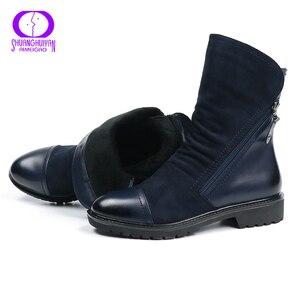 Image 3 - AIMEIGAO ファッションスエード革のブーツフラットミッドカーフブーツ春秋の女性のブーツ黒青靴
