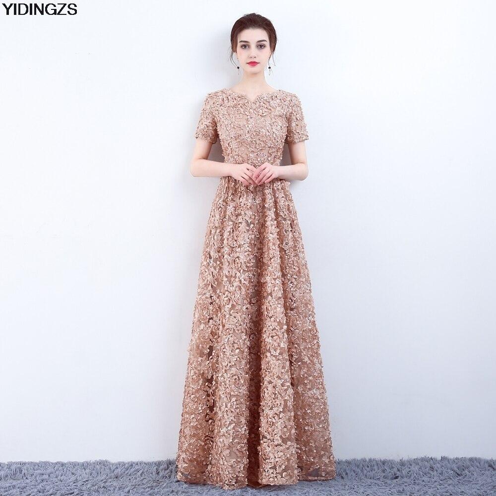YIDINGZS элегантный хаки Кружева Вечернее платье простой длиной до пола платье для выпускного вечера Вечерние вечернее платье