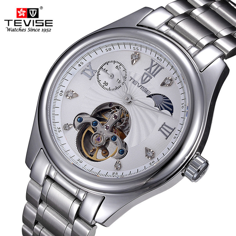 TEVISE Brand Automatic Self Wind Watches Men Stainless Steel Strap Tourbillon Wristwatch Male business Clock Mechanical Watch luxury tevise wrist watch for men automatic self wind men s watches dress wristwatch high quality free shipping