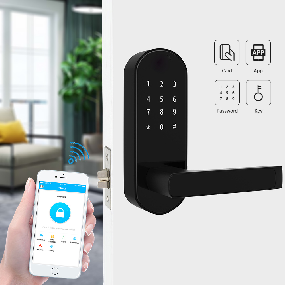 Bluetooth Smart Door Lock with ttlock, Electronic Door Lock with App Digital code WiFi RFID Card Micro USB ChargingBluetooth Smart Door Lock with ttlock, Electronic Door Lock with App Digital code WiFi RFID Card Micro USB Charging