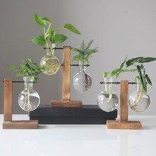 Новинка, Гидропонные вазы для растений, винтажный цветочный горшок, прозрачная ваза, деревянная рамка, стеклянные настольные растения, домашний декор, вечерние подарки