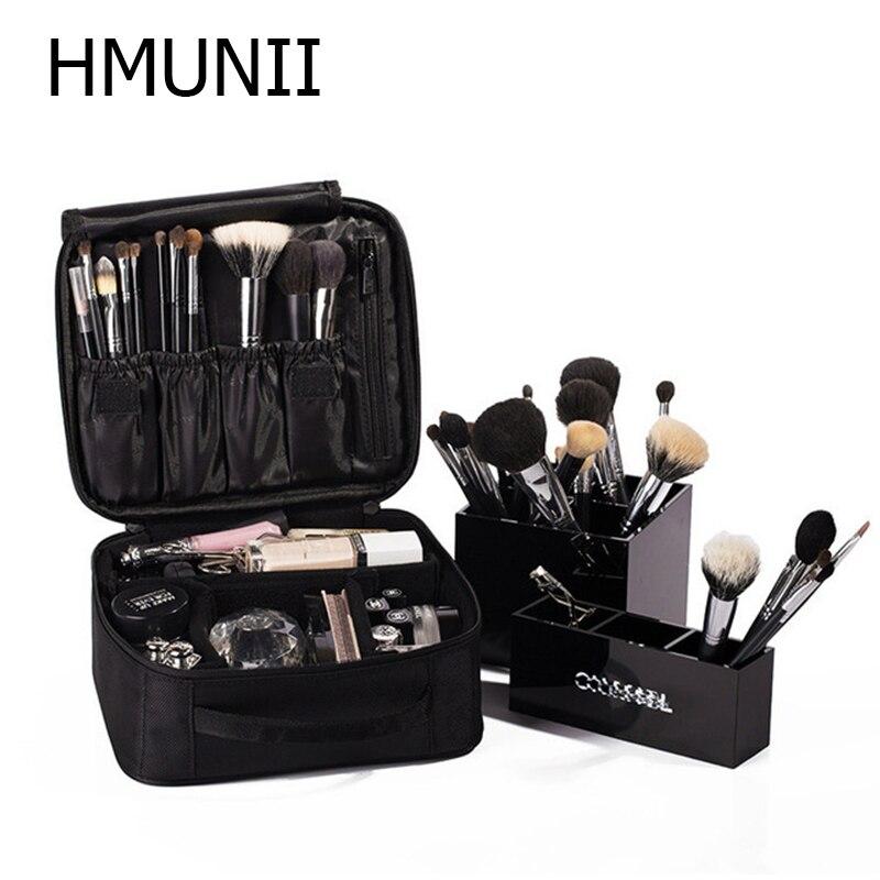 HMUNII Brand Women Cosmetic Bag High Quality Travel Cosmetic Organizer Zipper Portable Makeup Bag Designers Trunk Cosmetic Bags