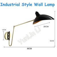 Industrial Style Wall Lamp 220V/110V Folding Telescopic Long Arm Robotic Arm Reading Bedside Lamp Nordic Style Wall Lamp BO 1752