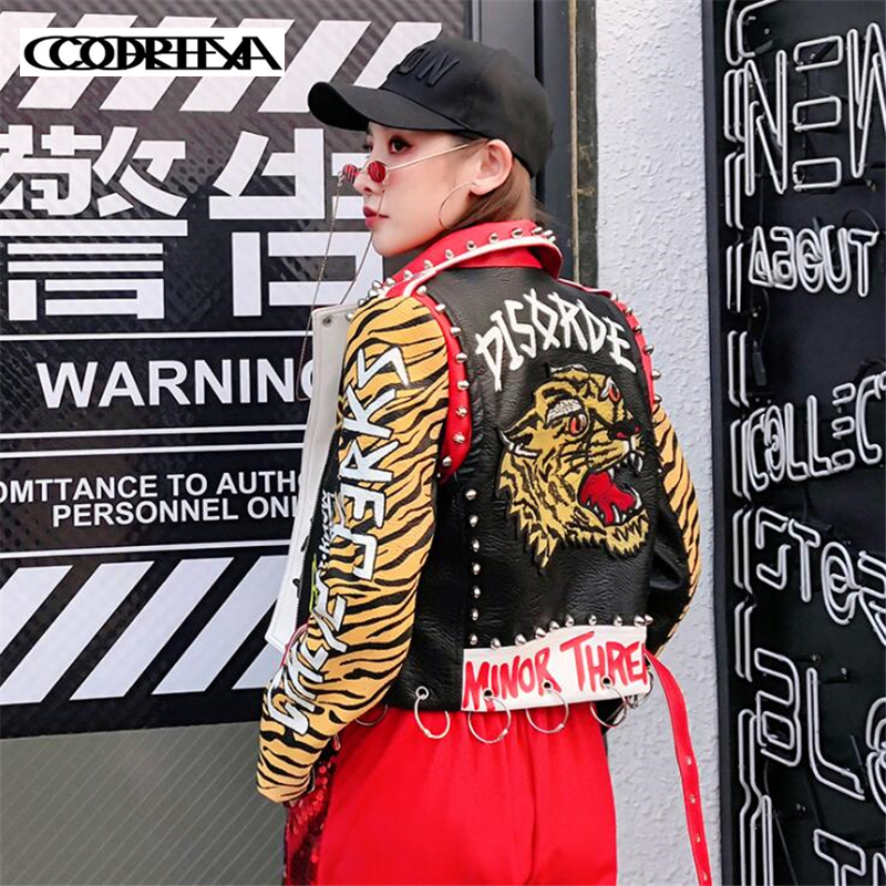Women Punk Rock Coat Rivet Tiger Head Embroidery Motorcycle Faux   Leather   Jacket Letter graffiti Tiger pattern Print PU Jackets