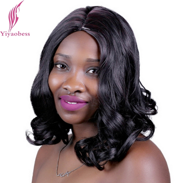 Yiyaobess 35cm 1b33 Middle Part Natural Curly Hair Wigs For African American Women Synthetic Wine Red Highlights On Black Wig In Underwear From