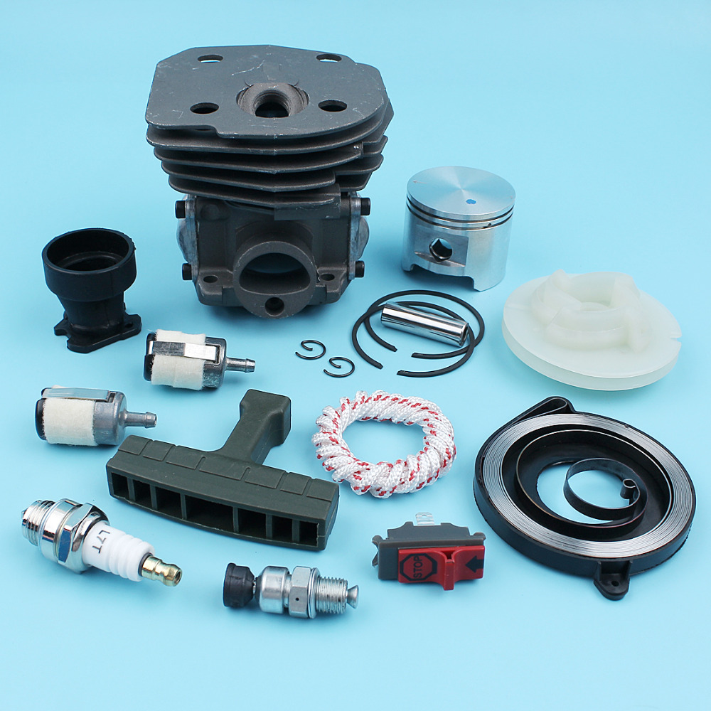 Nikasil Plated Big Bore Cylinder Piston Kit 45mm For Husqvarna 353 350 351 346 XP 345 340 Chainsaw Decompression Recoil Pulley nikasil cylinder piston kit 45mm big bore fits husqvarna 353 351 350 346xp epa 345 340 chainsaw decompression valve fuel filter