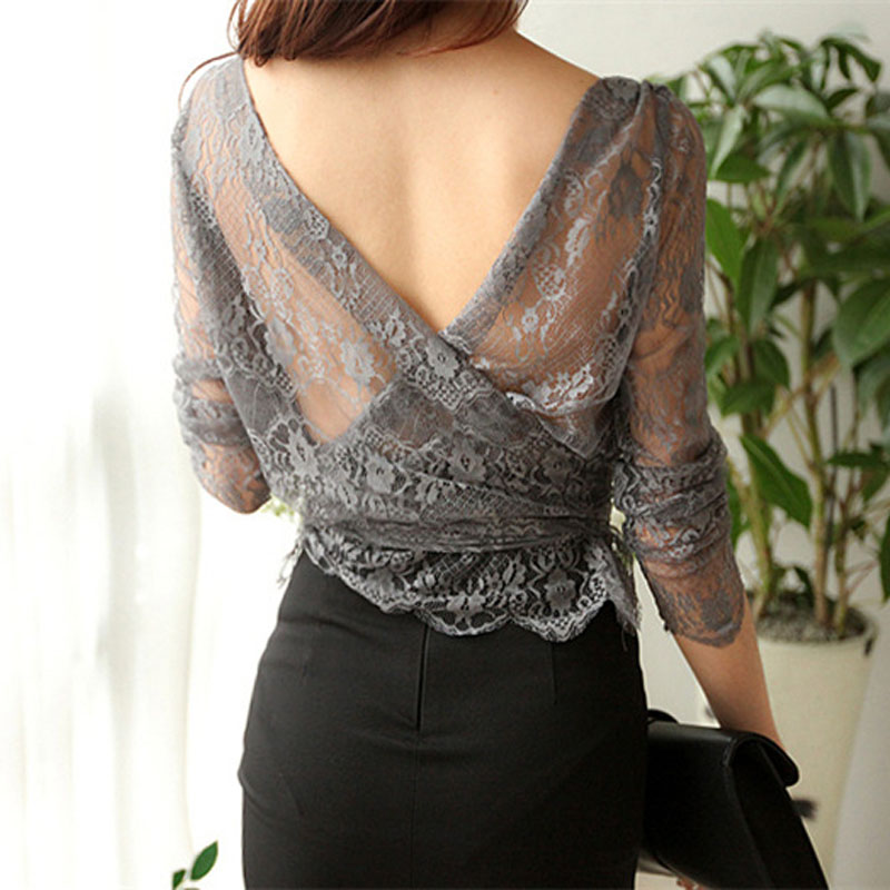 Ladies plus size chiffon blouses tops 2018 Winter Fashion Lace Hollow out Primer shirt Skinny office Sexy shirts blusas Women in Blouses amp Shirts from Women 39 s Clothing
