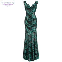 Angel fashions Women's Evening Dresses Long Formal V Neck See Through Special Party Gown Cyan 442