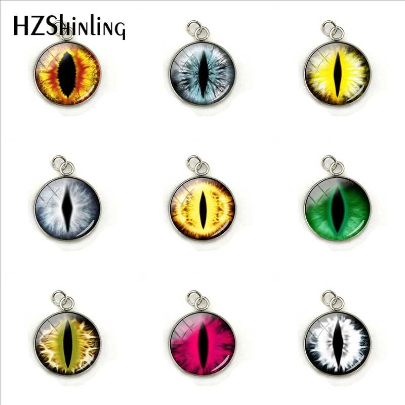 2019 New Vintage Punk Green Dragon Eyes Glass Jewelry Pendants Color Dragon Eye Glass Cabochon Round Charms Gifts