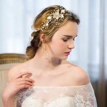 Delicado Oro Accesorios Hechos A Mano de Joyería de Perlas Diadema de Pelo de La Boda Vid Floral Nupcial Celada Mujeres Diademas