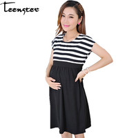 dc7e33312c751 Hamile Kadınlar Için Elbise. Teenster Maternity Clothing Plus Size Dresses  For Pregnant Women Fashion Short Sleeve Stripes Cotton Dress Clothes