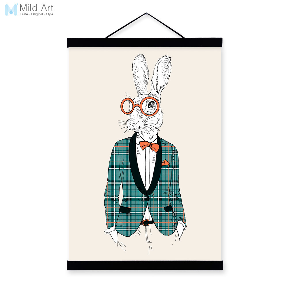 Hipster conejito conejo moda moderna Caballero Animal madera ...