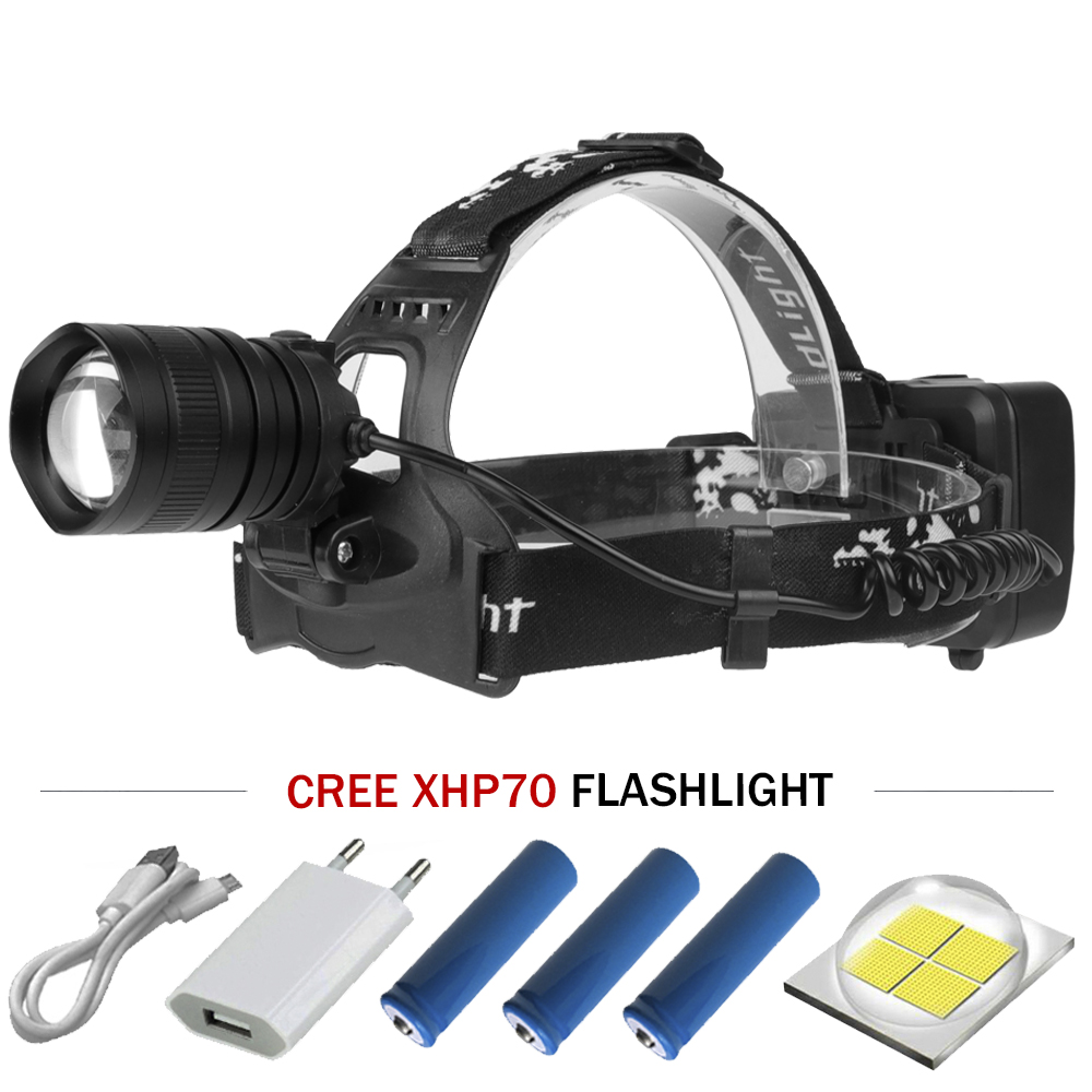 Dominant le foncé projecteur xhp70 cob led phare usb mobile power 18650 super haute puissance tête lumière torche lampe de poche de chasse