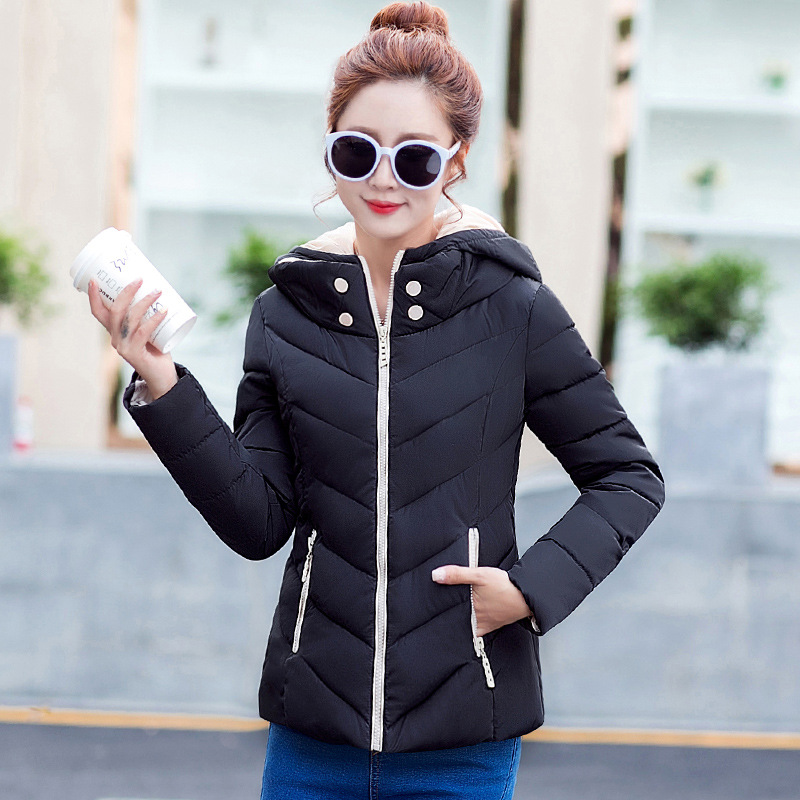 ФОТО 2016 New Women Fashion Coat Leisure Loose Big Yards Cotton-padded Female Clothes Pure Color Long Sleeve Hooded Jacket B186