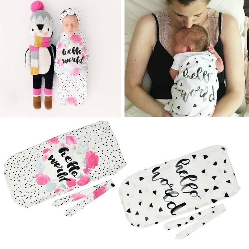 2 Pcs Infant Newborn Toddler Swaddle Blanket Baby Sleeping Case Bag Headband Hello World Letter Print