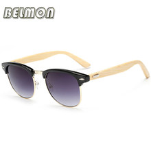 Mode Bambou lunettes de Soleil Femmes Hommes Marque Designer Bois Lunettes  de Soleil Pour Dames Rétro Semi-Sans Monture UV400 Mâ.. 5a55cc3fb997