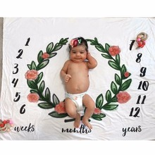 Newborn Baby Kids Milestone Towel Photo Prop Mat Pad Crawling Rug Carpet Cover Letter Printed Blanket Numbers Swaddle Quilt