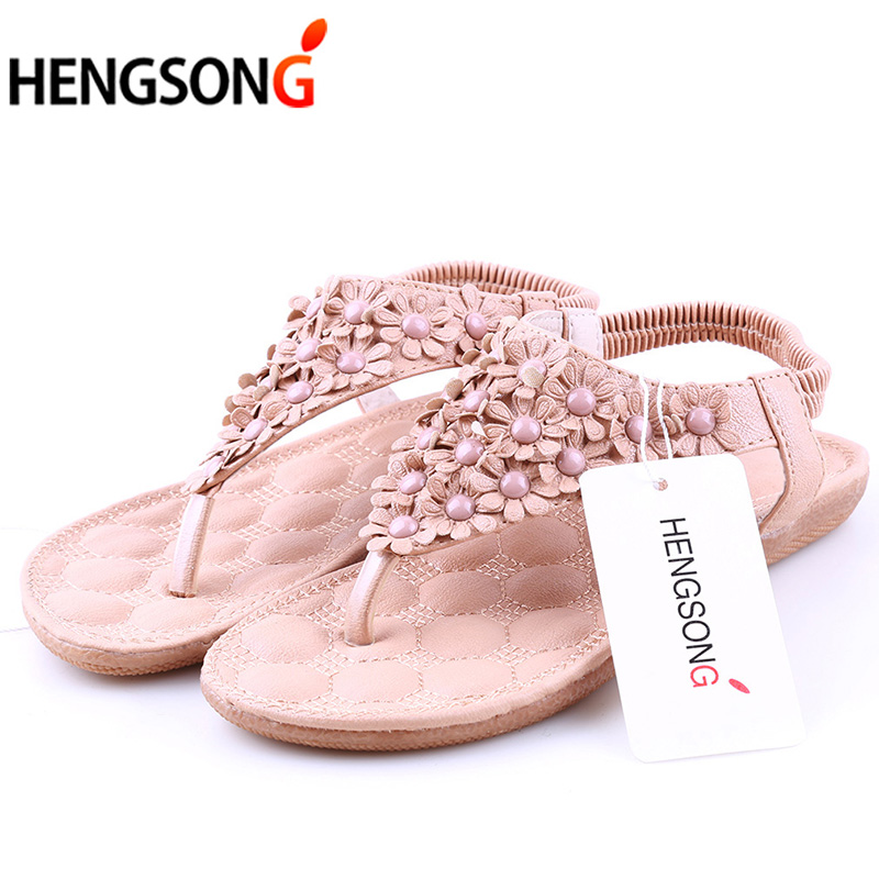 2018 Summer Sandals Women Shoes Bohemian Thong Flats Shoes Woman Sandals Flower Casual Beach Sandals Size 35-39 White Apricot cootelili real fur ankle strap gladiator sandals women flats 2017 summer tassel shoes ladies wedding beach sandals bohemian