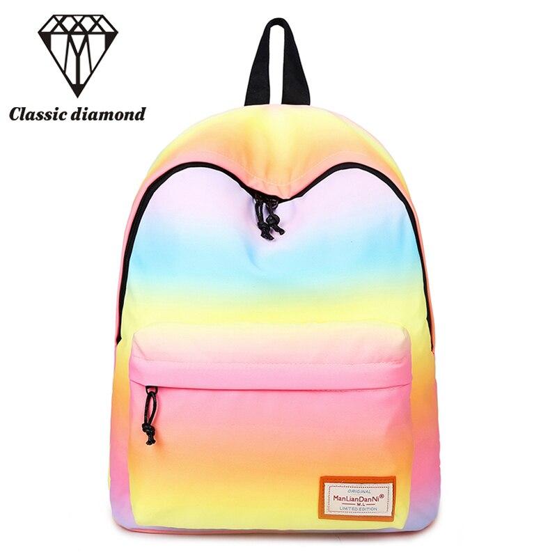 Women Printing Backpacks Gradient Color Shoulder Bags Nylon School Bags Rainbow School Bags For Teenage Girls