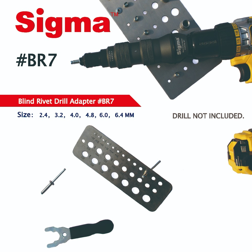Tools : Sigma  BR7 HEAVY DUTY Blind Pop Rivet Drill Adapter Cordless or Electric power drill adaptor alternative air riveter rivet gun