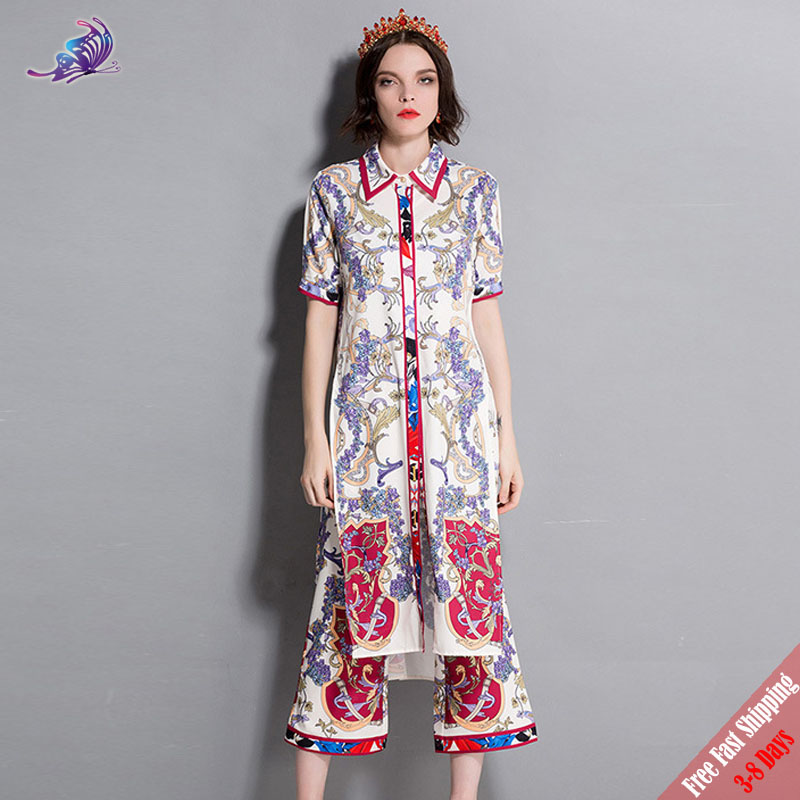 254e61711952 New 2018 Fashion Runway Summer Pants Set Women s Turn down Collar Vintage  Printed X-Long