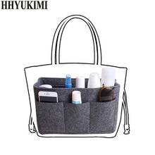 цена Felt Makeup Bag Organizer Insert Bag Handbag Organizer Insert Multi-functional Travel Cosmetic Bags Girl Toiletry Storage Bags в интернет-магазинах