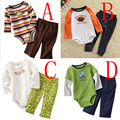 2015 baby boy clothing set spring fall style Christmas Gift green Long sleeve romper + pant flower brand casual ropa infantile