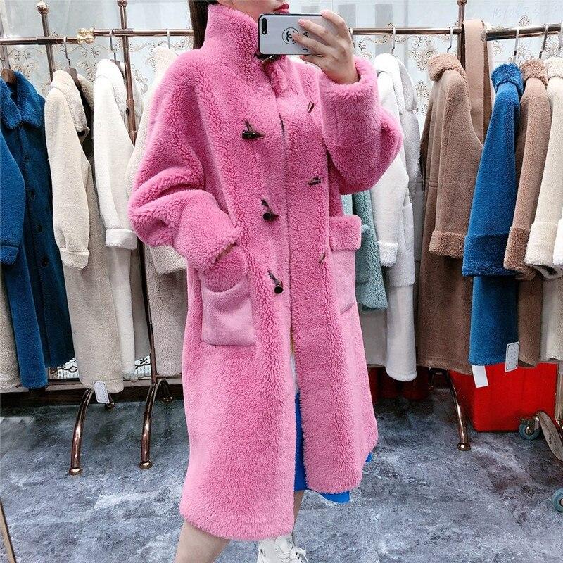 Sheep Fur Blend Coat Women Winter 2019 Long Large Size Oversize Ladies Sheep Fur Jacket Warm Thick Sheared Lamb Fur Overcoat