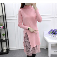 Korean Spring Autumn Lace Patchwork Sweater Dress Medium Long Kintted Sweater Dress Sexy Slim Sweater Robe