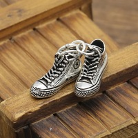 S925 sterling silver fashion Japan and South Korea trend casual canvas shoes personality hipster pendants for men and women D215