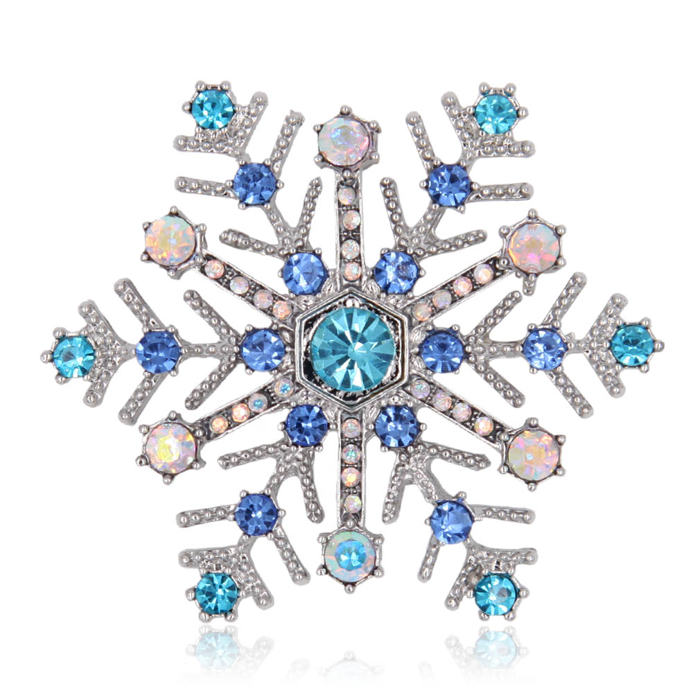 Crystal Rhinestone Snowflake Brooch Pin Metal Flower Women Scarf Accessory Fashion Jewelry Gift цена 2017
