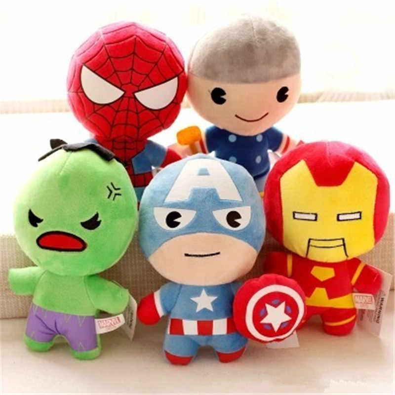 Kawaii The Avengers Plush Toys Hulk Thor Captain America Iron Man Spiderman Stuffed Animal Toys Soft Plush Dolls Great Boys Gift