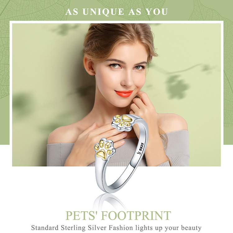 Sterling Silver Paw Print Ring for Women Cat Jewelry - Cat Paw Ring