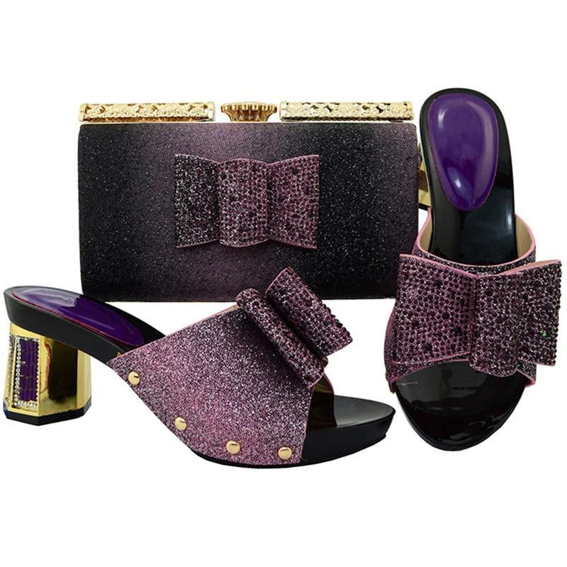 In HeelsGoldLilaRotSilber Tasche Afrikanische Italiener Rhinestones Gold Frauen Schuhe Neue Set Assorted Ankunft In Und Schwarz roxBeCdW