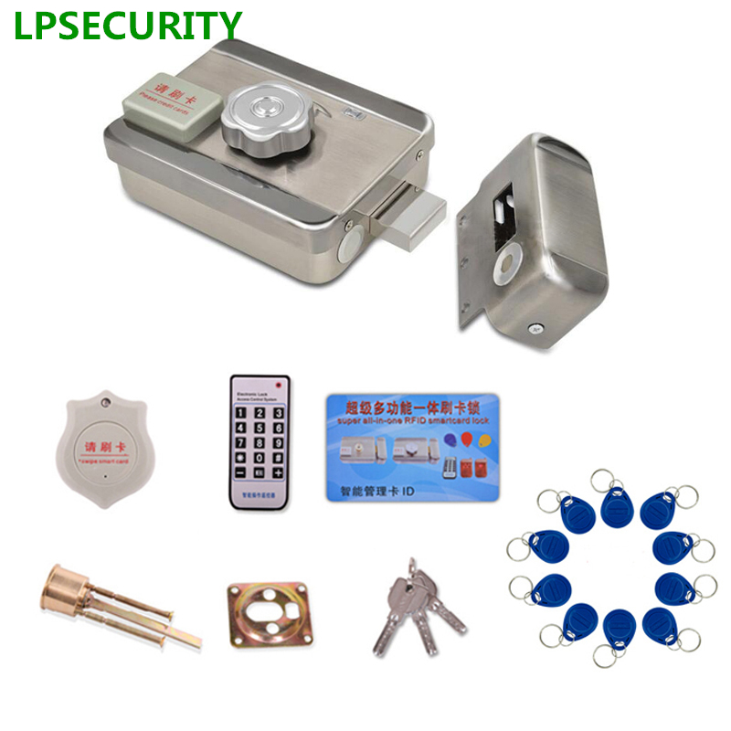 LPSECURITY 20 Tags Door & Gate Lock Access Control System Electronic Integrated RFID ID Reader Door Rim Lock For Intercom