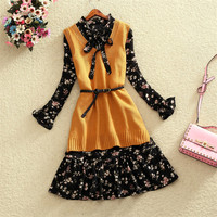Fashion Autumn Two Pieces Women Knittde Vest+Long Sleeve Chiffon Dresses Flower Bow Tie Dress Vestidos Winter Bottomings WZ604