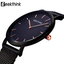 GEEKTHINK Top Luxury Brand hombres reloj de Cuarzo Negro Casual Japón correa de Malla de acero inoxidable reloj de cuarzo ultra delgado reloj masculino