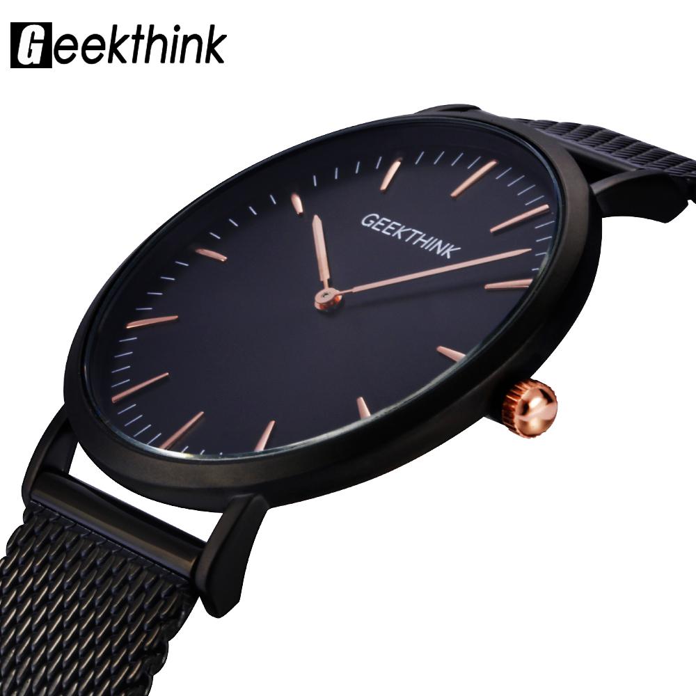 Prix pour GEEKTHINK Top Marque De Luxe montre À Quartz hommes Noir Casual Japon quartz-montre en acier inoxydable Maille sangle ultra mince horloge mâle
