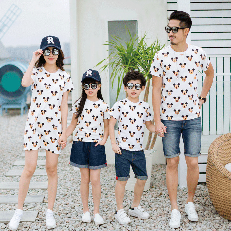 Family Matching Clothes Mickey Cartoon Tshirts Father Mother Daughter Son Mom Mommy And Me Clothes Couple Family Look Outfits 13