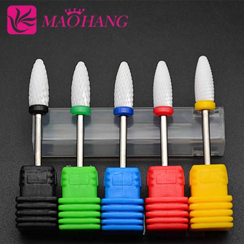 MAOHANG 1 piece Pro Ceramic Nail Drill Bit Rotary Burr For Electric Manicure Machines Pedicure Files Nail Salon Tools