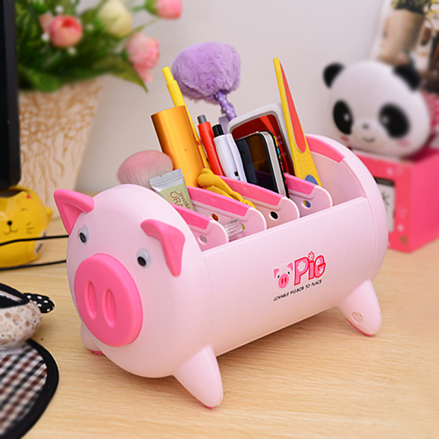 Pink Pig Plastic Desk Organizer Office Desktop Accessories Storage Box